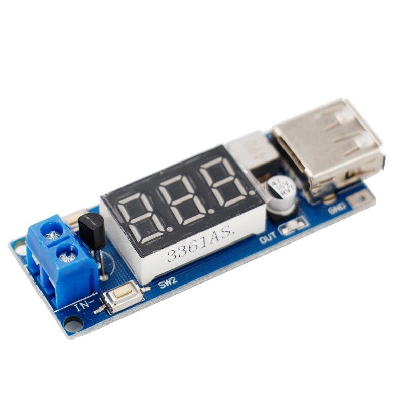 100pcs/lot LED display DC 4.5-40V to 5V/2A USB Charger power supply module DC-DC Step-down Converter Voltage Volt Meter 40%off