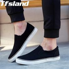 Tfsland/мужские слипоны для отдыха; Мужские дышащие парусиновые туфли на мягкой толстой подошве; классические спортивные прогулочные туфли; цвет черный, белый; кроссовки