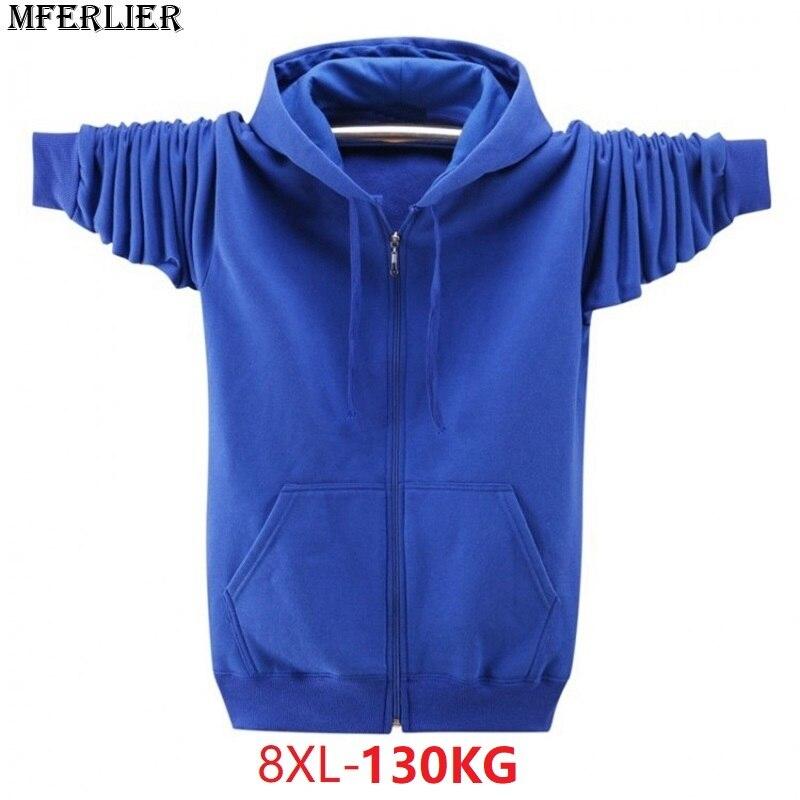 Autumn Men Hoodies Sweatshirts Plus Size 6XL 7XL 8XL Zipper Pocket Parkour Hooded Casual Sweatshirts Blue Pull Over Coat Black