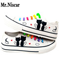 Mr.Niscar White Cat Men Casual Shoes Low Top Lace-Up Canvas Shoe Cartoon Design Fashion Men Flat Shoes Colorful No Tie Footwear