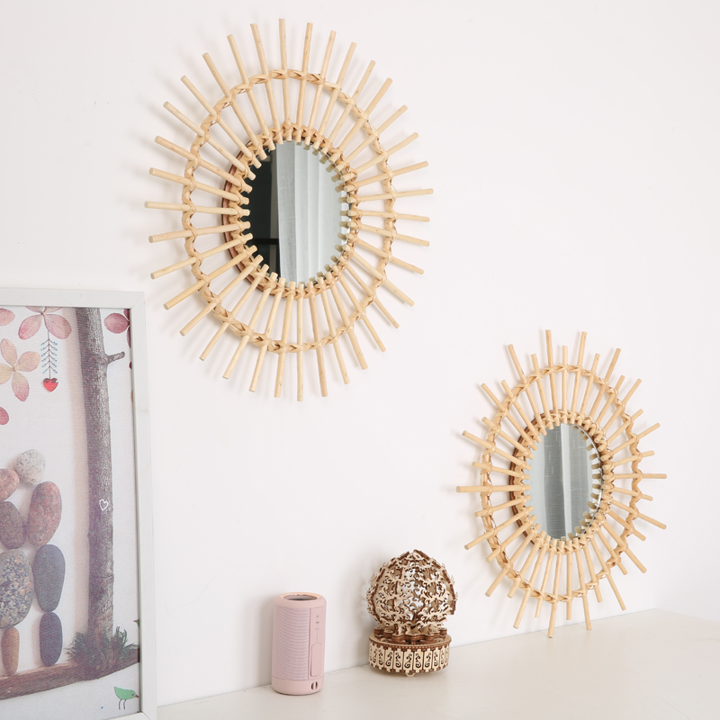 50CM Rattan Mirror Round Makeup Mirror Dressing Wall Hanging Art Sculpture Home Decorations Wall Decorations R1624
