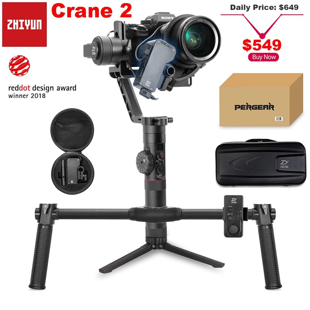 Zhiyun Crane 2 3 axes stabilisateur de cardan portatif avec suivi Focus 3.2Kg charge utile OLED affichage 18hrs longue durée d'exécution pour Canon 5D4 3