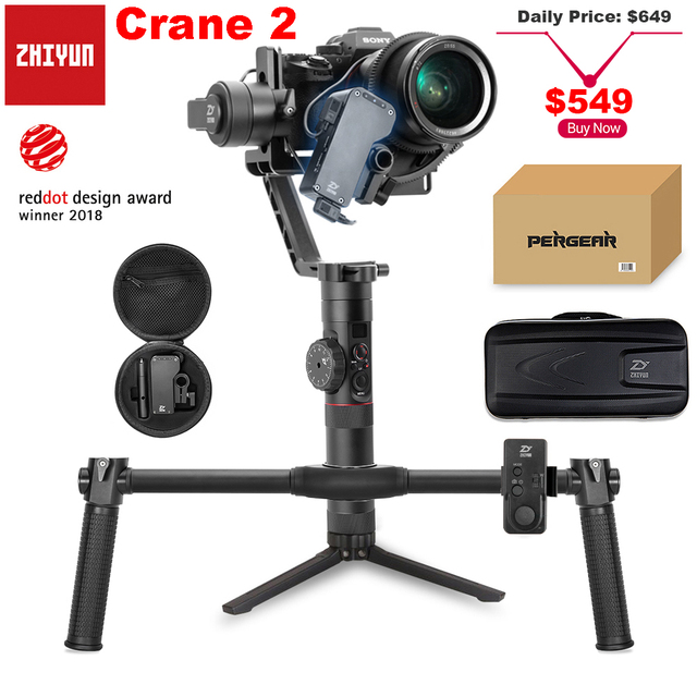 Zhiyun Crane 2 3-Axis Handheld Gimbal Stabilizer with Follow Focus 3.2Kg Payload OLED Display 18hrs Long Runtime for Canon 5D4 3