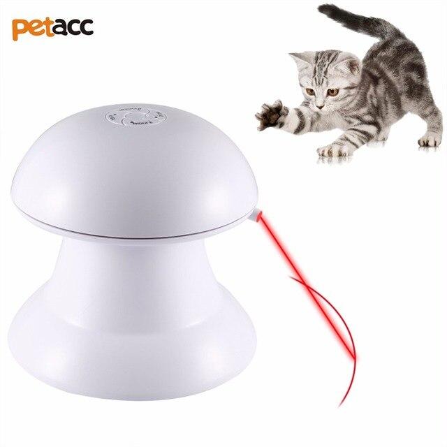 Petacc automático giratorio láser Luz juguete gato interactivo láser juguete seguro Pet láser juguete con diseño de rotación de 360 grados