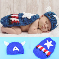 2015 New Top Sale Captain America Design Newborn Photography Props Handmade Crochet Baby Hat With Cape