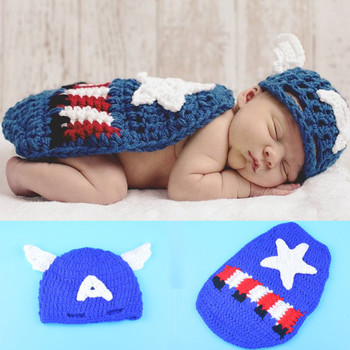 New Top Sale Newborn Photography Props Handmade Crochet Baby Hat with cape Set Infant Costume Outfit 1set newborn police design photography props infant toddler costume outfit crochet