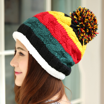 2016 New Women Winter Hat Plus Velvet Thicken Thermal Knitted Hat Pullover Winter Fashion Ear Cap
