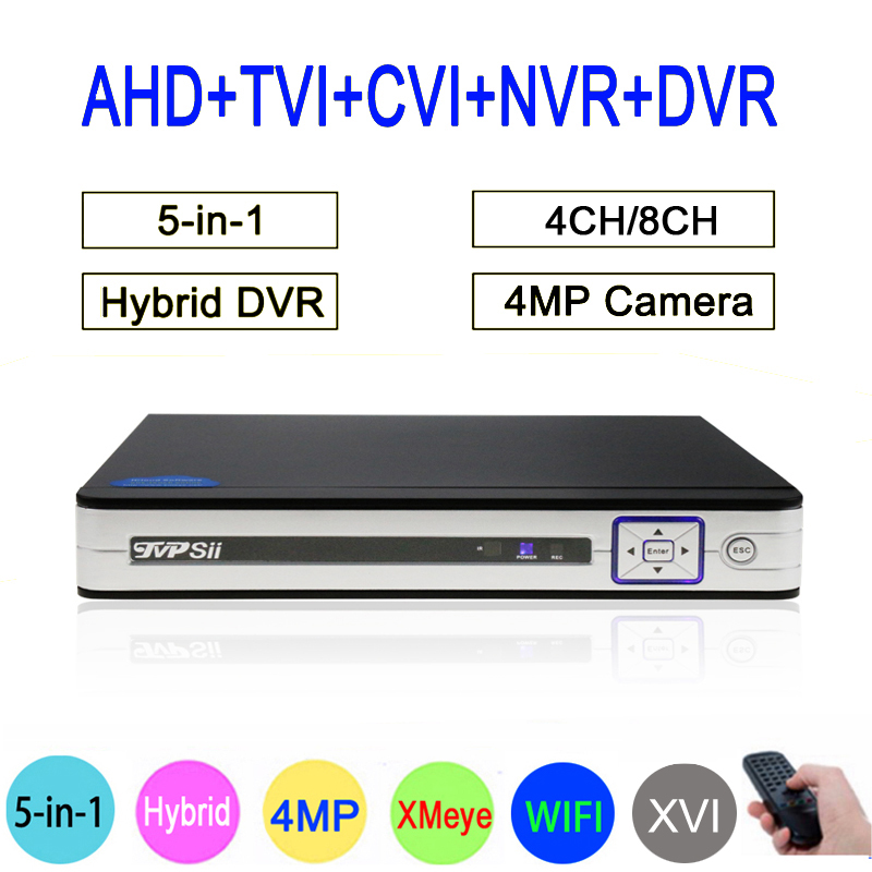 Sliver Panel 4MP HI3521A Xmeye 4CH/8CH 6 in 1 H264+ WIFI Hybrid Coaxial ONVIF TVi CVI IP NVR AHD CCTV DVR Free Shipping silver panel hi3521a 5 in 1 xmeye 4 channel 4ch 1080p 2mp 25fps realtime hybrid coaxial nvr tvi cvi ahd cctv dvr free shipping