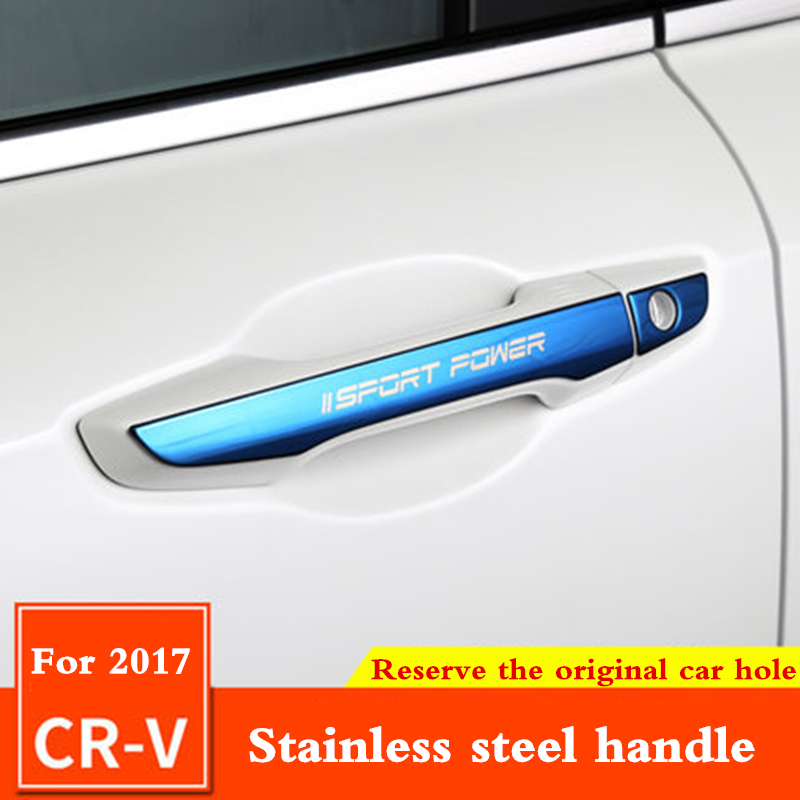 Car Stainless Steel Exterior Door Bowl Cover Handle Sticker Protection Cover External Modification For Honda CRV CR-V 2017 2018