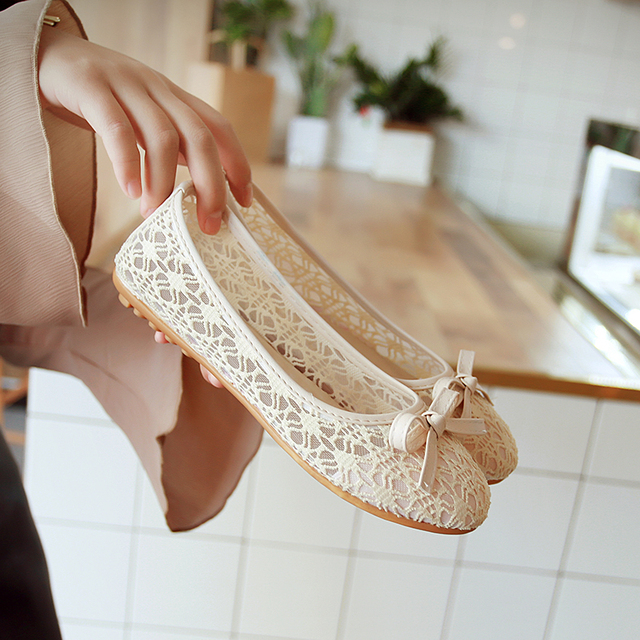 Aphixta Hollow Lace Flats Women Shoes Metal Casual Flat With Non-Slip Outdoor Shoes Beige Purple Plus Big Size 36-45 Loafers