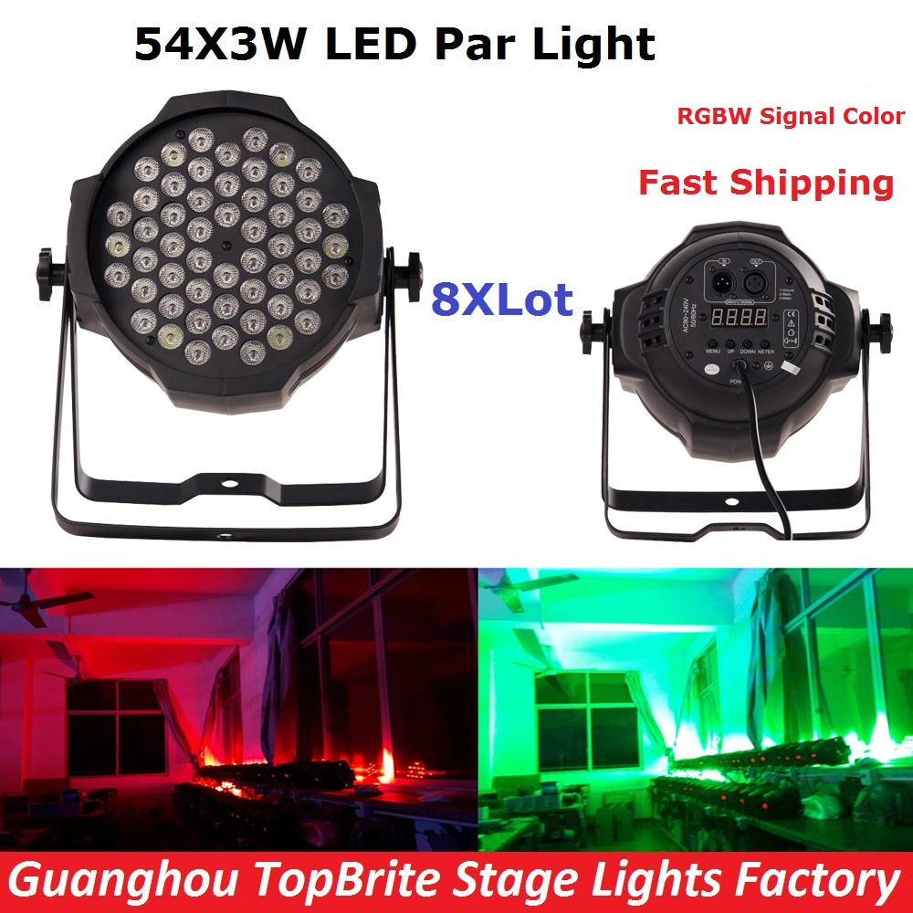 где купить 8Pcs/Lot Led Par Light 54X3W RGBW Led Par Cans Strobe Laser DMX DJ Disco Professional Stage Lights Sound Party Equipments по лучшей цене