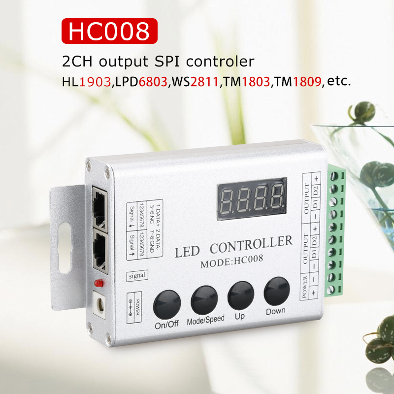 2 Channels Output SPI Magic Dream Color Controller HC008 With RF Remote Controller For 1903 2811 6803 6812 16703 1914 1934 Etc.