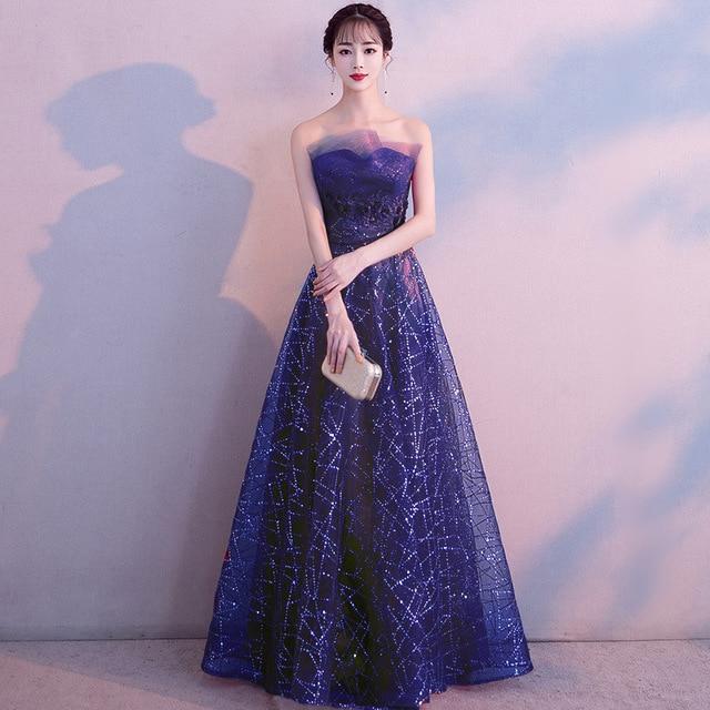 Asian Women Prom Dresses Sexy Tube Top Cheongsam Lace Sequins Full Length Qipao Vestidos Bride Wedding