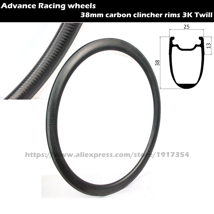 38mm carbon clincher rims tubeless compatible 25mm width carbon road rims, 700C carbon rims for road bike wheels
