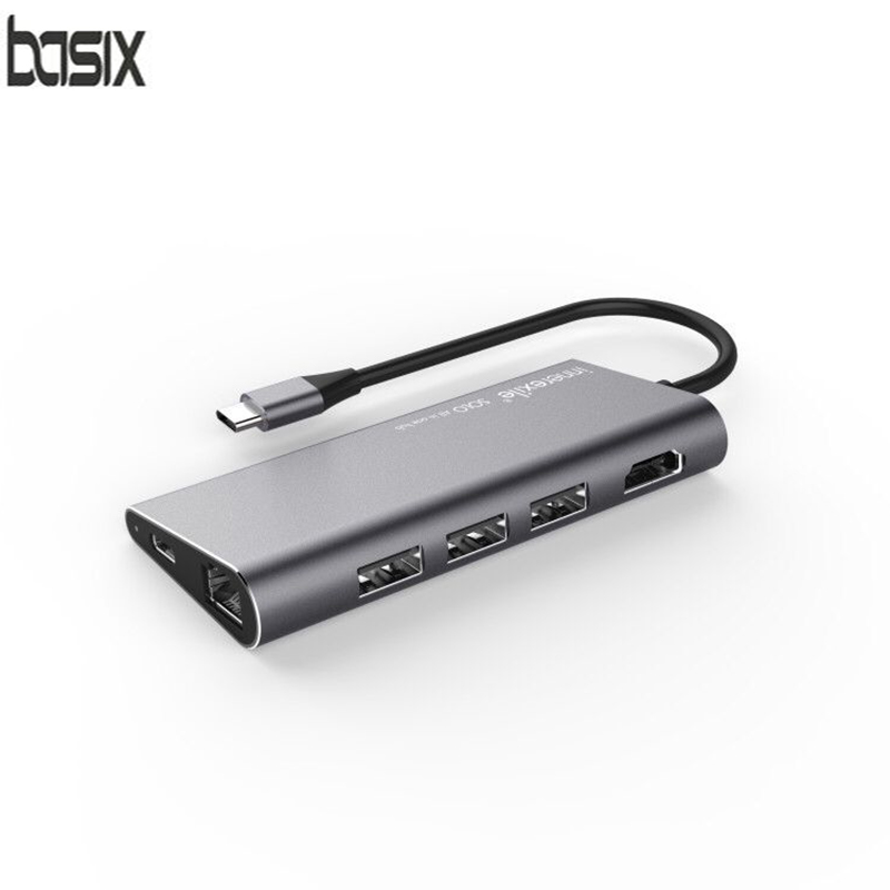 Basix 8 in1 USB Type C 3.1 HUB forType-C to USB 3.0 / 4K HDMI / RJ45 Ethernet / SD TF Card reader USB Type-C OTG For New Macbook new portable mini design charming 3 in 1 card reader usb type c micro usb 3 0 tf sd card reader support type c otg card reader