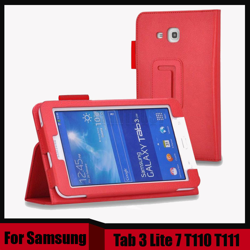 3 in 1 Flip Stand Design Pu Leather Case for Samsung Galaxy Tab 3 Lite 7 T110 T111 Cover Case + Screen Film + Stylus Pen
