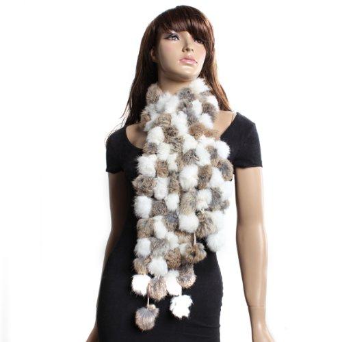 Genuine Rabbit Fur Soft Collar Warmer   Scarf     Wrap   White & Brown
