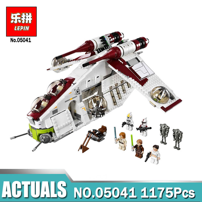 Lepin 05041 Wars on Star Toy Compatible legoinglys 75021 Republic Gunship Set for children Educational Blocks gift for boy lepin legoing 75021 1224pcs star series wars the republic gunship building blocks brick educational toys for children 05041