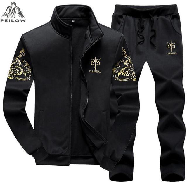 PEILOW plus size M~8XL 9XL Men Tracksuit Sporting Suit Autumn Winter Men sweatshirt Set 2 Piece Mens Sportswear Hoodies+pants