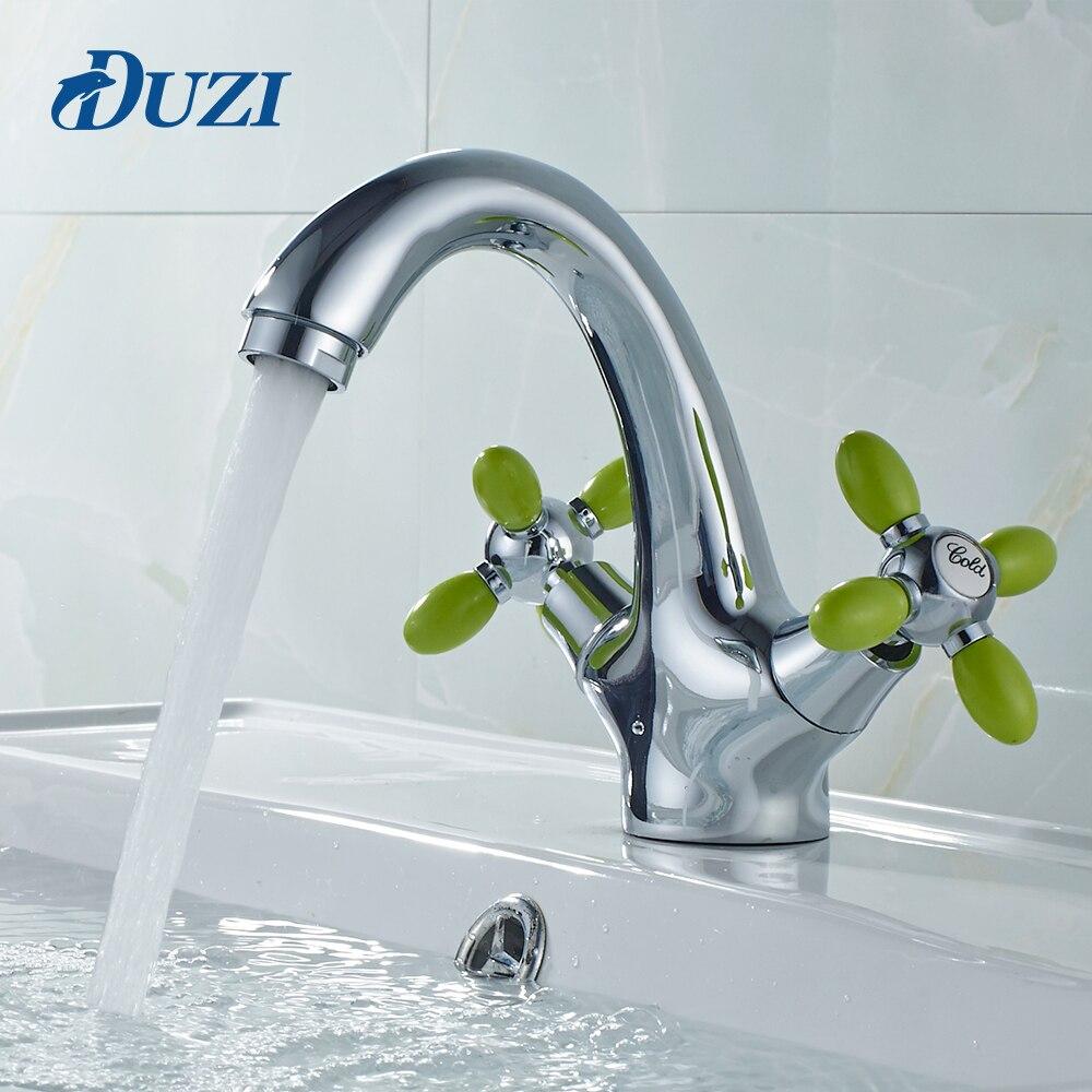 Duzi смеситель Ванная комната бассейна раковина смеситель горячей и холодной воды кран двойной держатель воды краны белый зеленый Ванная ком…