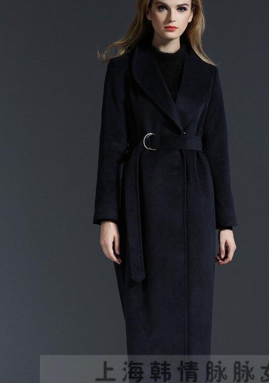 Pardessus Longue 2017 Veste Recouverts Manteau Outwear Hiver Boutons Épaissir Bleu Femme En Mince Nouveau Profond Laine Automne Trench tTxqTCwd
