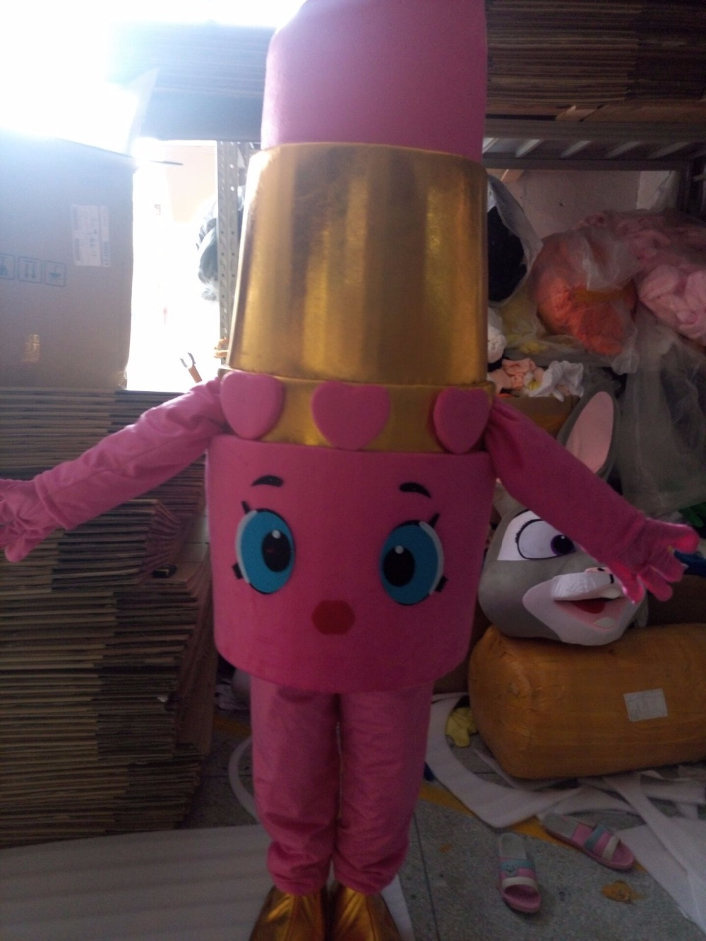 lippy lips Mascot Costume pink lipstick mascot costume from for makeup party with for adult Halloween Purim party event
