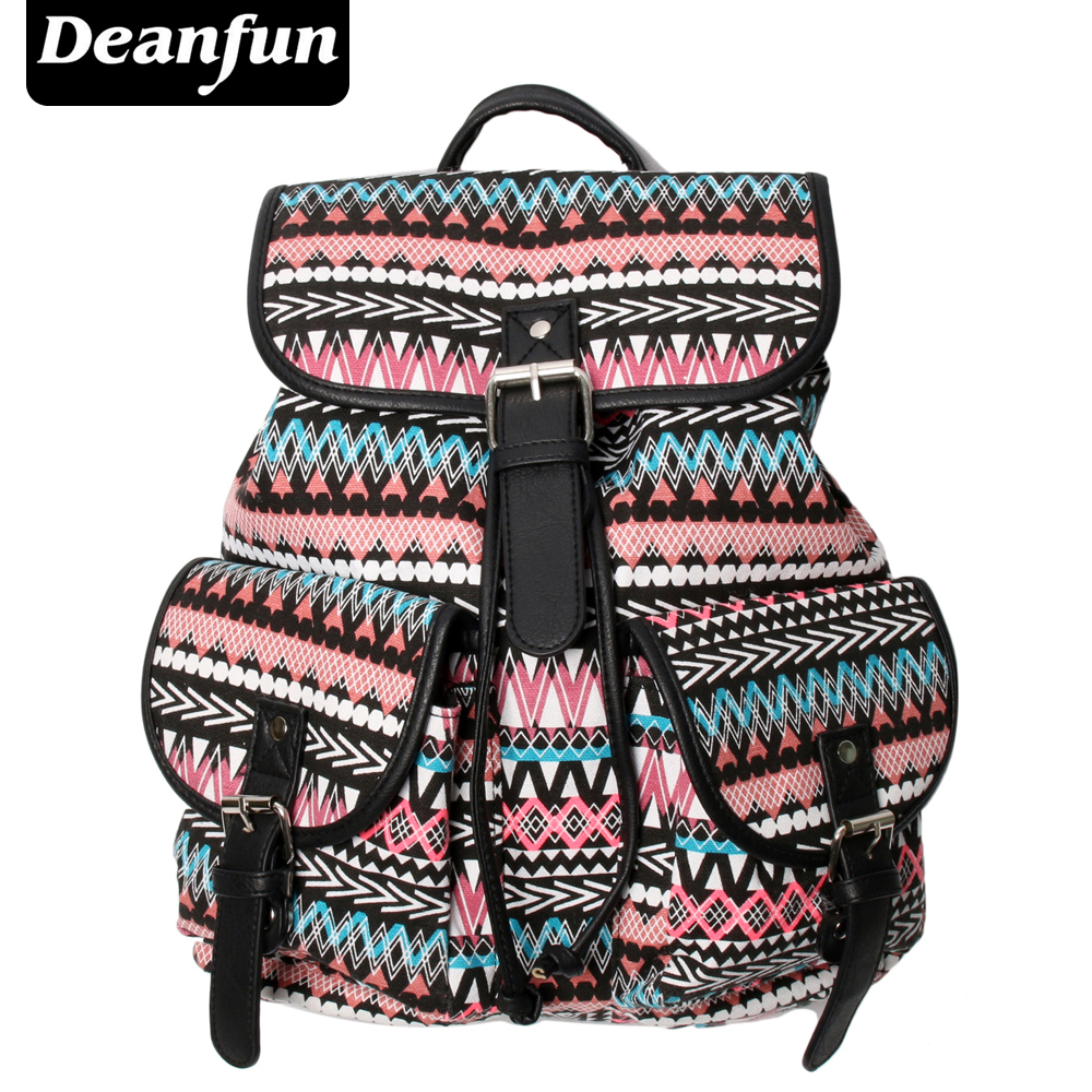 Deanfun Women Canvas Backpack Handmade Vintage Striped Pattern Printing For Travel FB2