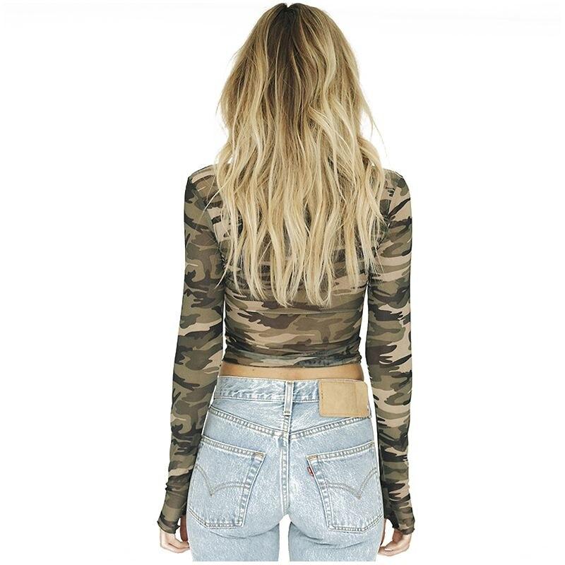 TKOH Women's New Fashion T Shirts Long Sleeve Slim Tee Tops Camouflage Print T-shirts Tops Casual O-neck Elasticity Mesh Crop