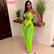 Adogirl Fluorescence Color Fashion Casual Two Piece Set Hollow Out Spaghetti Straps Bodysuit Swimwear + Ruffle Sheer Mesh Pants(China)