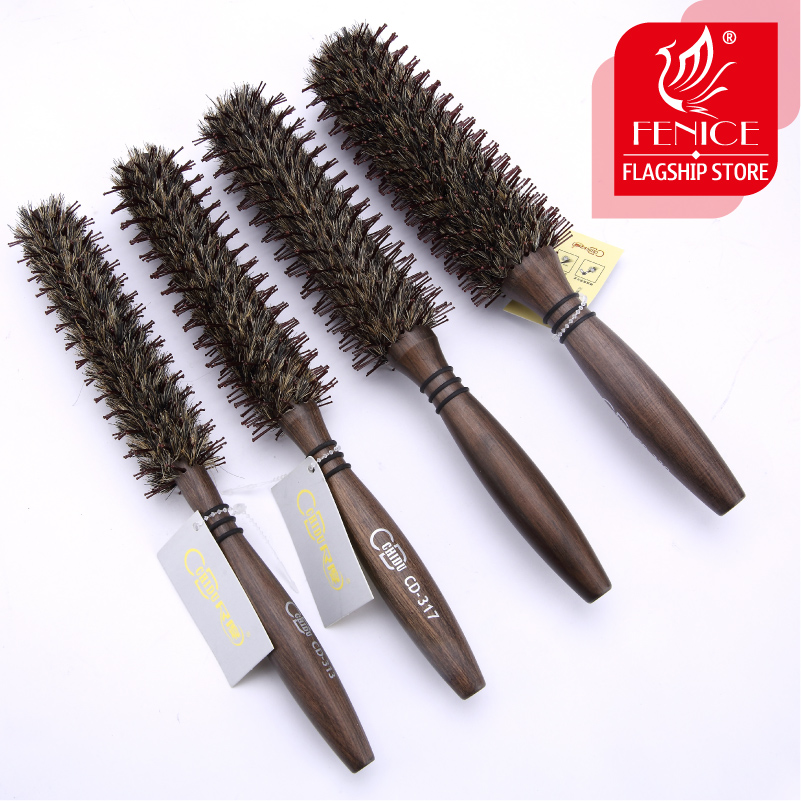 Roll round comb hair brush bristle pig mane Brown bristles wood handle For curly hair Round bristles tips