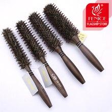 Круглая ГРЕБЕНКА щетка для волос щетина свинья грива коричневая щетина деревянная ручка для вьющихся волос круглые щетины советы