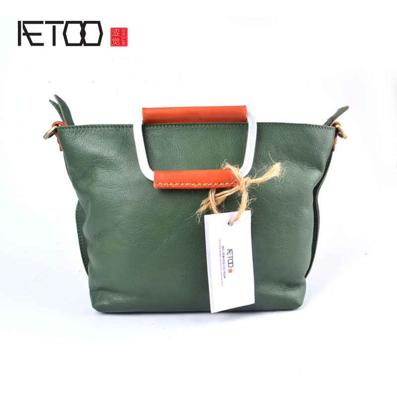 AETOO Korean version of the leather handbags retro Jane Sen female college first layer of handb qiaobao 2018 new korean version of the first layer of women s leather packet messenger bag female shoulder diagonal cross bag