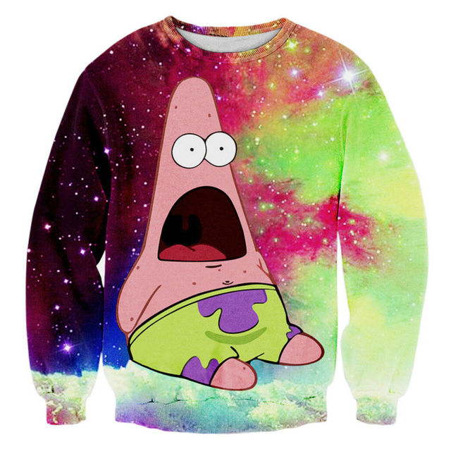 Autumn Winter Men's Sweatshirt New Fashion Harajuku Style Galaxy Cartoon Patrick Star Graphic Hoodies Long Sleeve Crewneck Tops  by Ali Express
