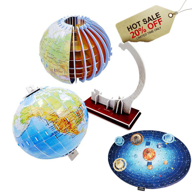 US $18 56 |Manual Assembly 3D Globe Planet Paper Puzzles Class Learning  Tools Globe Model DIY For Children Creative Educational Jigsaw Toys-in Card