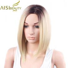 AISI BEAUTY Short Wigs for Women  12″ Synthetic Straight Ombre Blonde  Purple Grey Hair