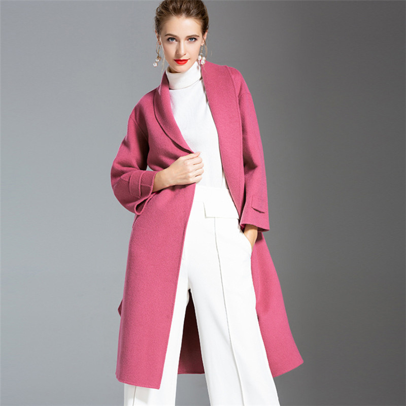 Lady Adjustable Waist Woolen Trench Coat Double Side Cashmere Coats Women Thick Warm Winter Long Wool Overcoat V1025