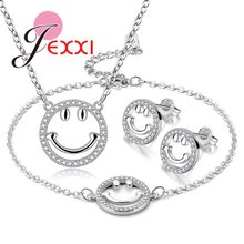 Fashion 925 Sterling Silver Jewelry Set For Women Ladies Simple Casual Image Pendant Necklace Stud Earring Bracelet Bangles Set(China)