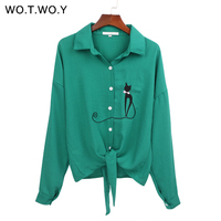 WOTWOY Animal Cat Embroidered Blouses Women Knotted Hem Long Sleeve Blouse Shirt Woman Lapel Buttons Spring
