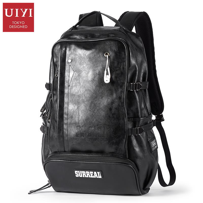 UIYI Brand Women Men PU Leather Backpack 14 Inch Laptop Travel Large Capacity Casual Rucksack School Bags For Teenagers 140019 men pu leather backpack crocodile pattern school backpacks for teenagers double shoulder bag black laptop rucksack travel bags