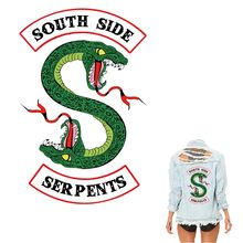 COSBILL Green Snake Patches Heat Transfer Jacket Applique Iron On Sticker For Clothes Riverdale South Side Serpents Patch Y-192