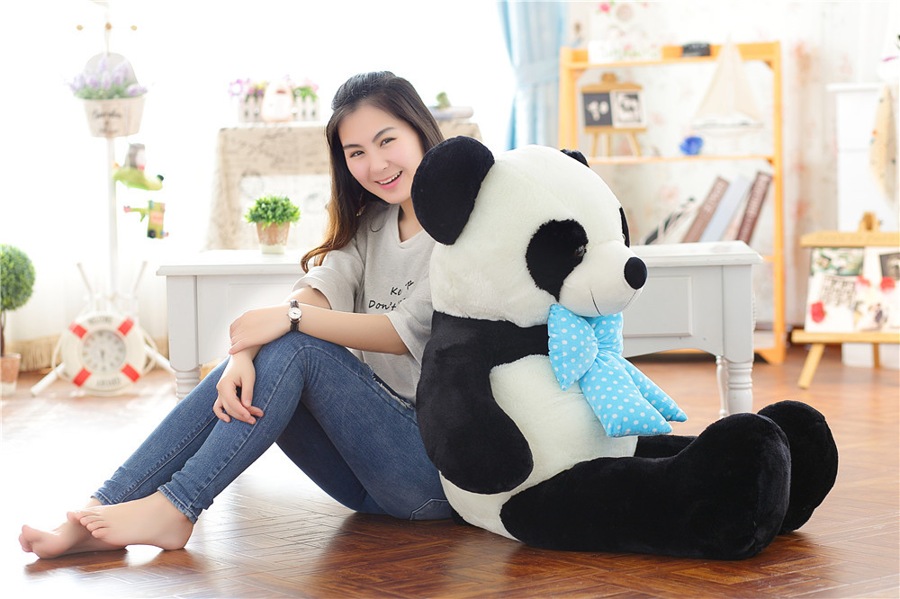 big new plush blue bow panda toy lovely big panda doll gift about 120cm 0597 110cm cute panda plush toy panda doll big size pillow birthday gift high quality