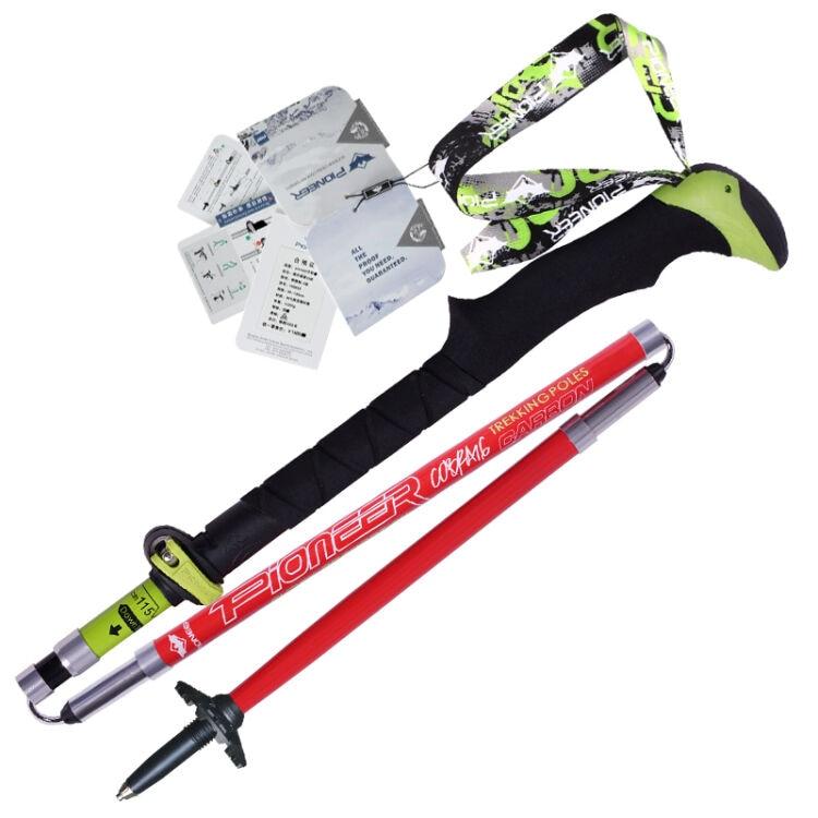 ФОТО  Pioneer   Pioneer Hiking Pole Trekking Sticks Climbing Walking Trekking Poles Carbon Fiber Folding Nordic Walking Sticks Cane