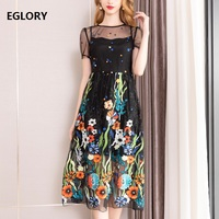 Top Quality New Celebrity Inspired Women Dresses 2019 Summer Ladies O Neck Allover Luxurious Embroidery Dress Midi Party Vestido