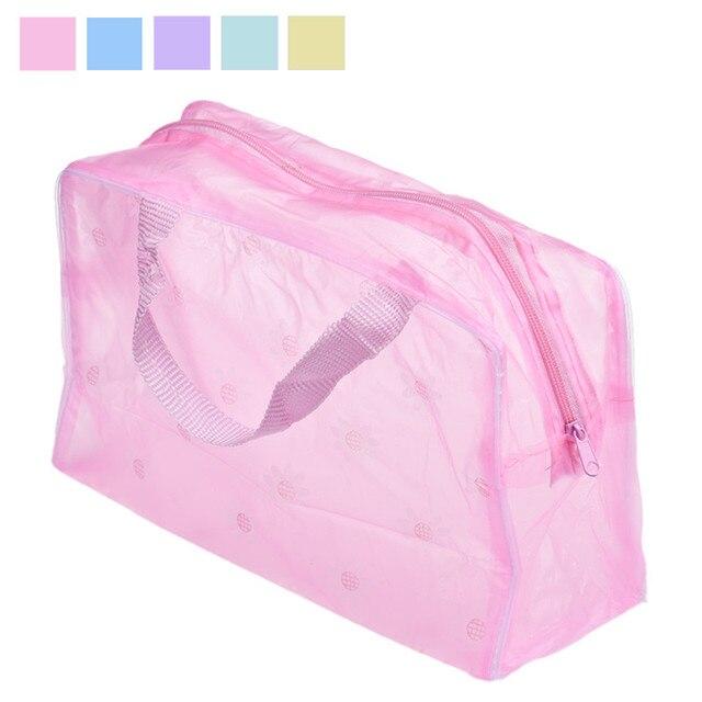 Şeffaf Seyahat Makyaj Kozmetik Çantası şeffaf plastik pvc Çanta Tuvalet fermuarlı çanta 5 Renkler Kadınlar makyaj çantası