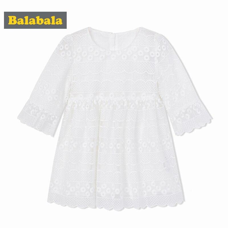 Balabala new spring dresses 2018 girl clothes child White Lace Dress girls enfant fashion wear enfant Long Sleeve Princess Dress princess girls dress 2017 new fashion spring