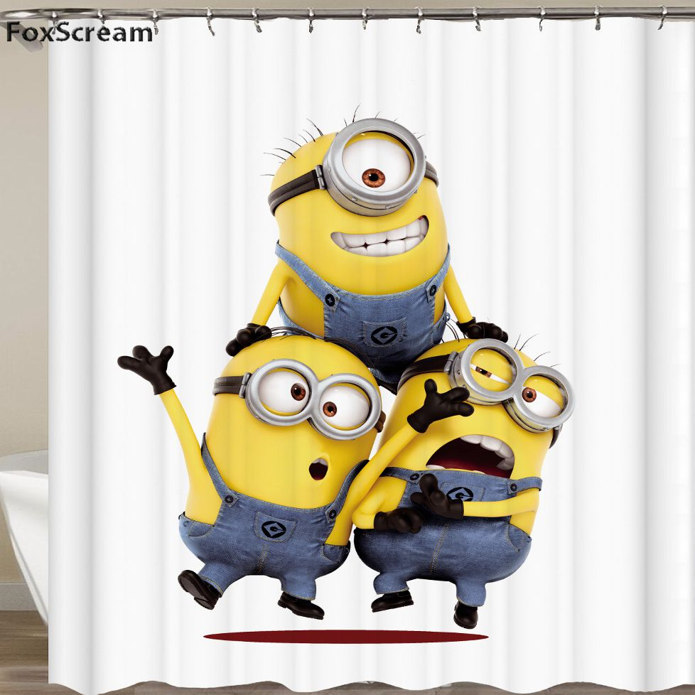 3d yellow shower curtains Mischievous Minions Series Shower Curtains Custom Cartoon Polyester Waterproof Bathroom Curtain
