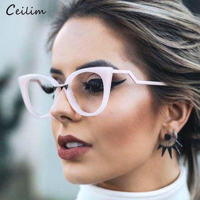 7ba2c65ec أزياء النظارات إطار مشهد النساء القط العين واضح نظارات البصرية وهمية نظارات  قصر النظر للسيدات الإناث