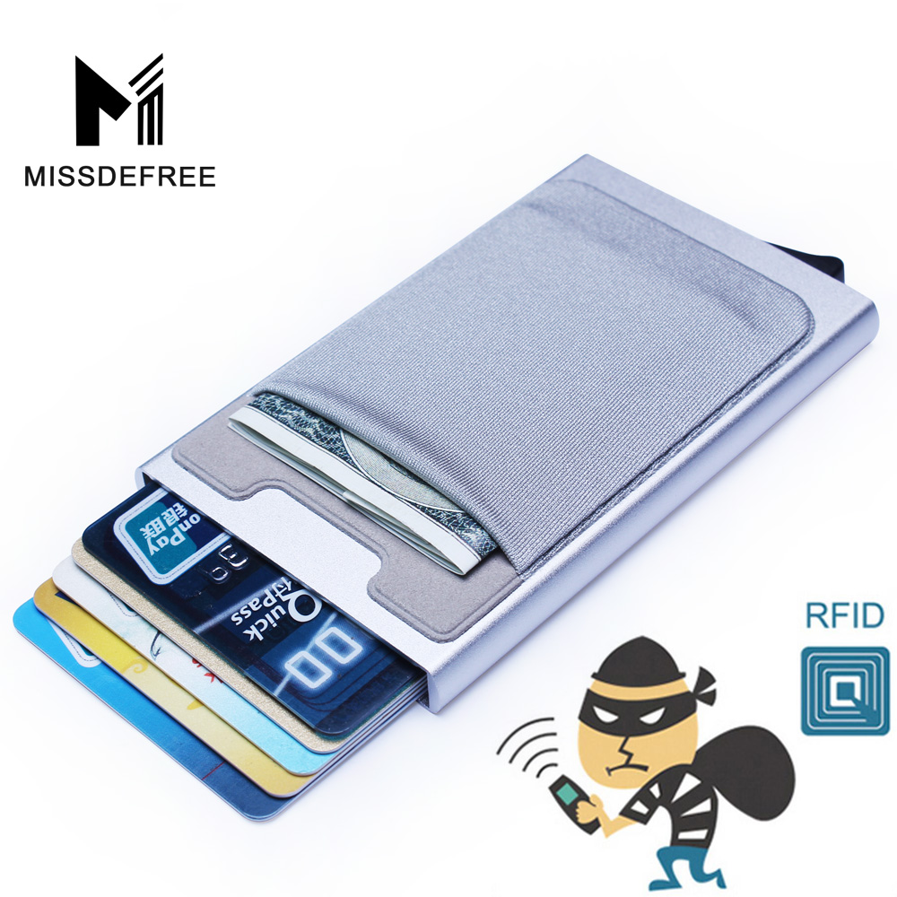 Aluminum Wallet With Elasticity Back Pocket ID Card Holder Rfid Blocking Mini Slim Wallet Automatic Pop up Credit Card Case Box(China)