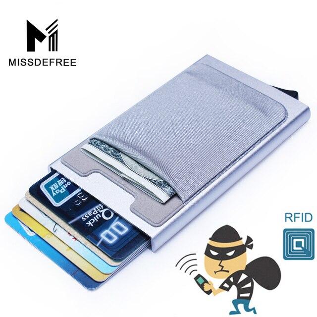 Cartera de aluminio con bolsillo trasero elástico portatarjetas de identificación Rfid bloqueo Mini cartera delgada automático Pop up caja de tarjeta de crédito caja