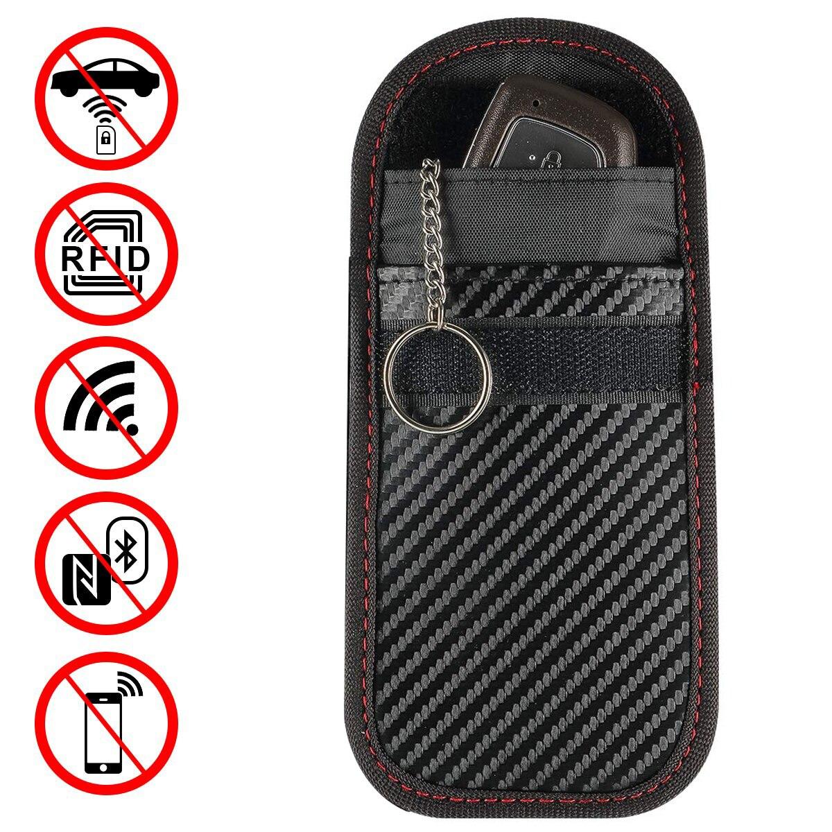 Pouch Blocking-Bag Car-Key-Case Signal-Blocker RFID Keyless Portable With Key-Chain-Ring